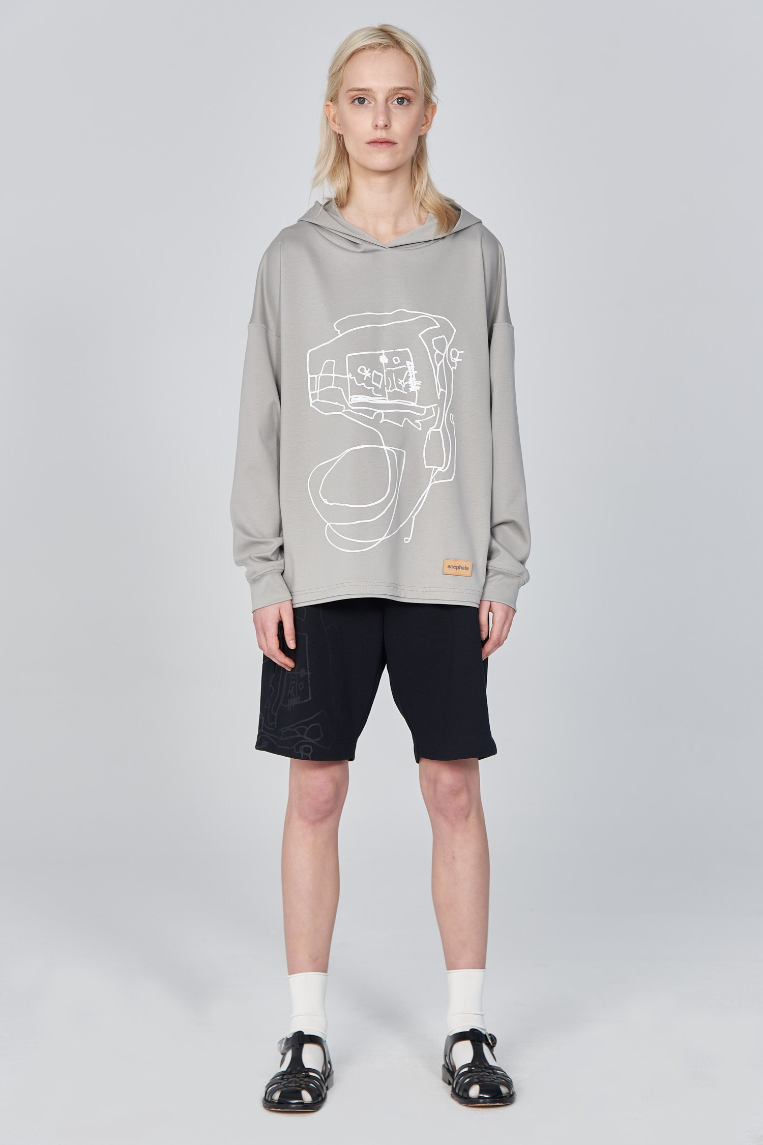 Acephala Ss21 Unisex Grey Hoodie With Graphic Print Front