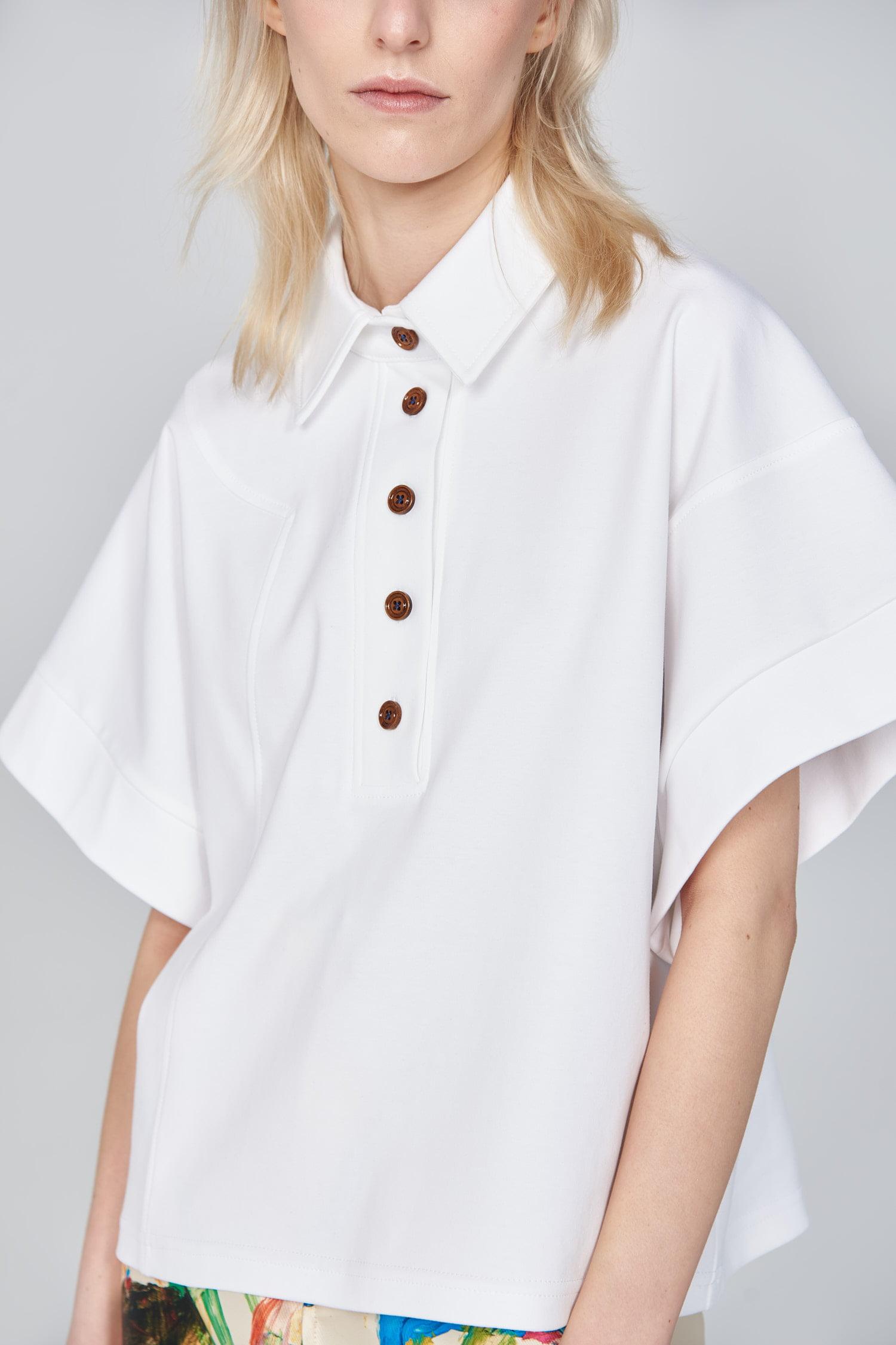 Acephala Ss21 White Polo Shirt Detail