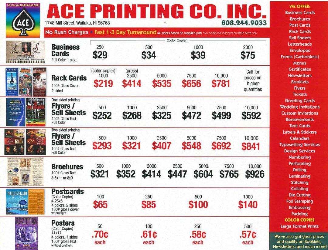 Ace Printing Prices