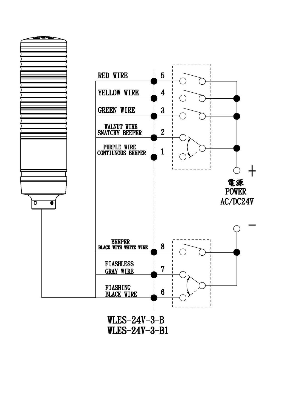 Wles 24v 3 B Water Proof Led Signal Light Beeper