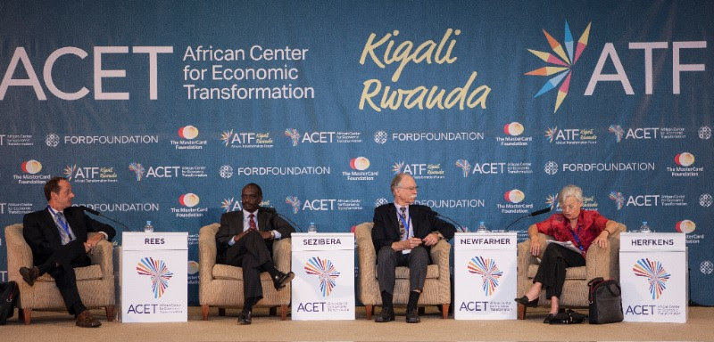 "Matthew Rees, Richard Sezibera and Richard Newfarmer and Eveline Herfkens (from left to right) at the ATF 2016 breakout session on ""Facilitating Trade and Regional Integration"""