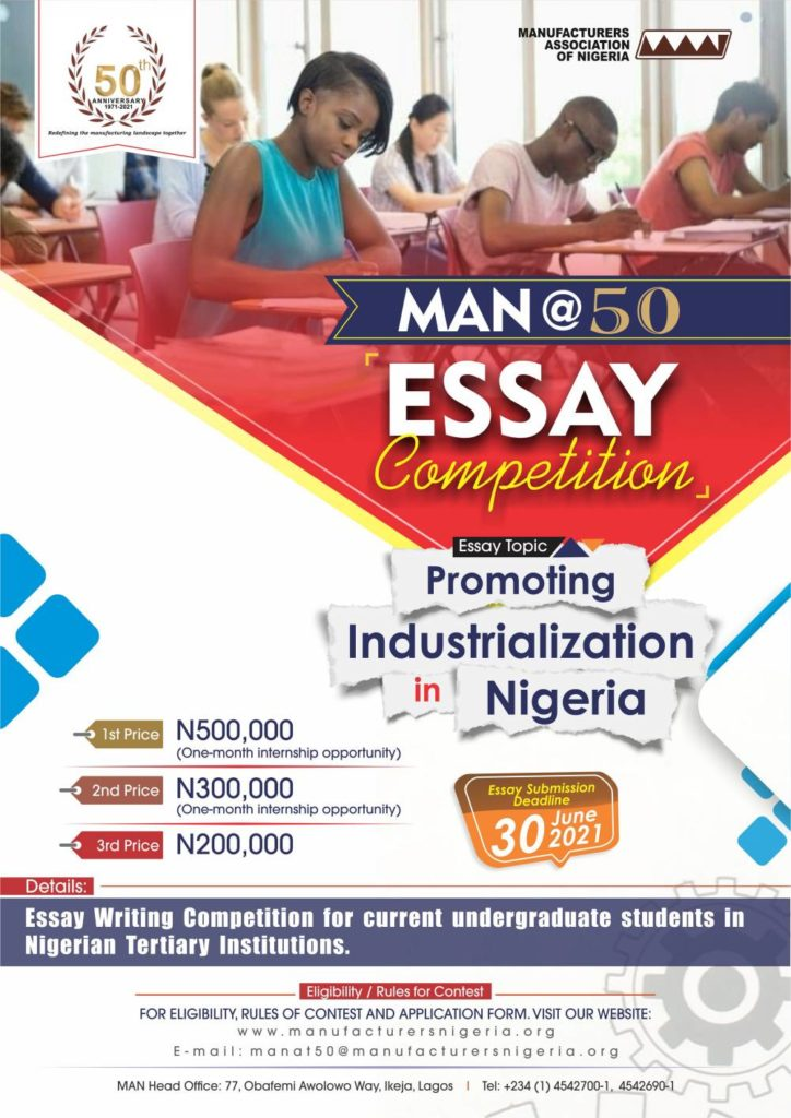 Manufacturers Association of Nigeria (MAN) @50 2021 Essay Competition