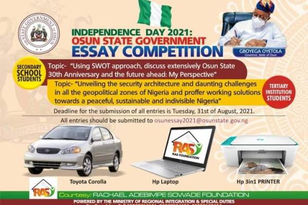 Independence Day 2021: Osun State Government Essay Competition