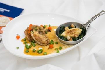 Entree dish: Poulet Sauté Saint-Lambert, quenelle de pommes de terre and épinards mère-Louisette.