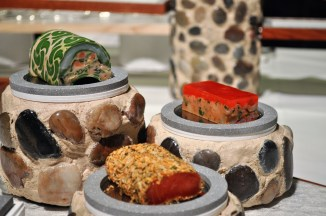 Terrines from the edible buffet.