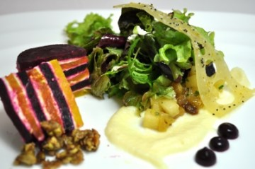 Roasted beet and goat cheese tian with spiced apple relish, apple puree, granola wonder cracker, white wine vinaigrette