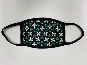 Masque à vendre de trille et lys vert et blanc sur fond noir