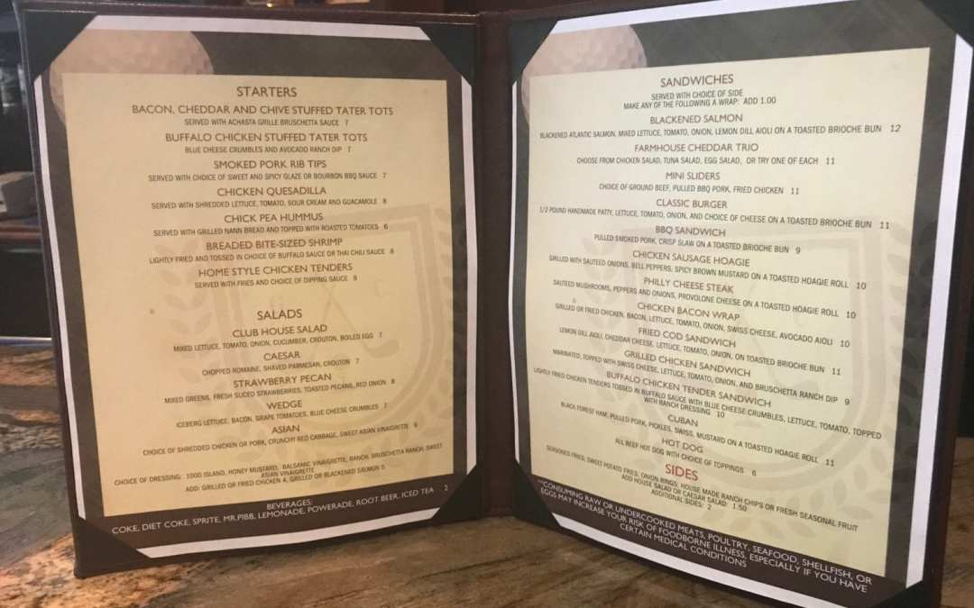 New Achasta Grille Menu