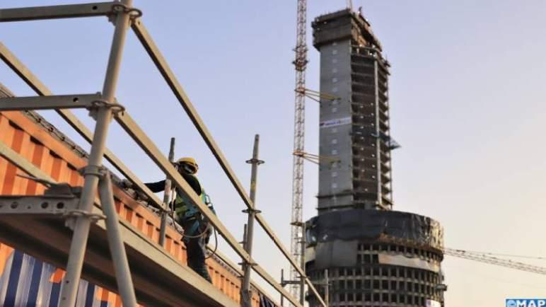 برج محمد السادس.. نسبة إنجاز الأشغال الكبرى تصل إلى 75 بالمائة