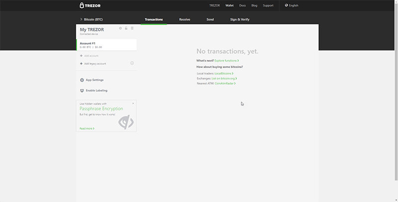 trezor bitcoin wallet interface