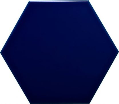 carrelage mural 11 x 13 hexagonal lisse brillant couleur bleu victorien
