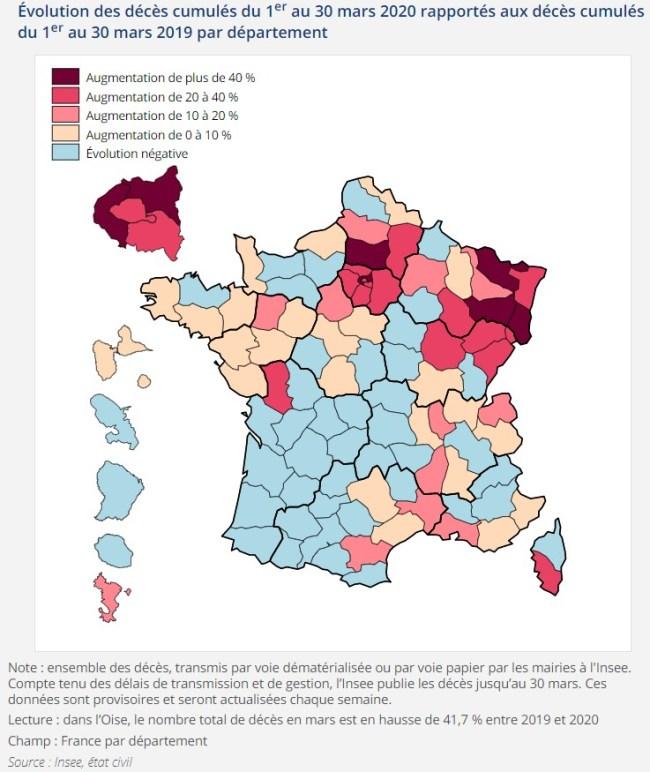 Graphique Covid-19 Coronavirus INSEE Décès mars 2020 2019 France pays acheter immobilier espagne