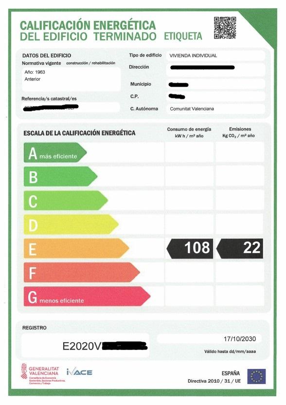 certificado energetico exemple Diagnostic de Performance Énergétique acheter immobilier en Espagne