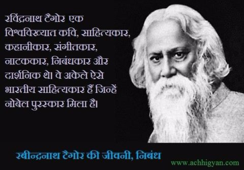 Rabindranath Tagore Biography & Essay In Hindi,