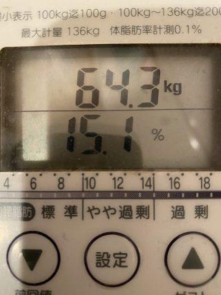 【体脂肪至上主義】体重:64.3kg  体脂肪:15.1%