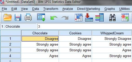 SPSS screenshot showing responses to Likert-type items
