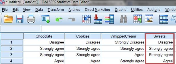 SPSS screenshot showing the combined scale