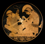 Tondo of an Attic Red-Figure Kylix, ca. 500 BCE, depicting Achilles tending Patroklos' arm, wounded by an arrow. Source: Wikimedia Commons
