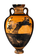 Attic Black-figure Amphora ca. 490-480 BCE by the Kleophrades Painter depicting the 4-horse chariot racing competition. Typically filled with olive oil, this type of trophy was awarded to chariot race winners at the Panathenaic Games in Athens.
