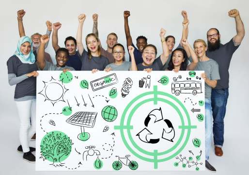 Group of Diverse People Showing Recycle Sign Eco Friendly Save E