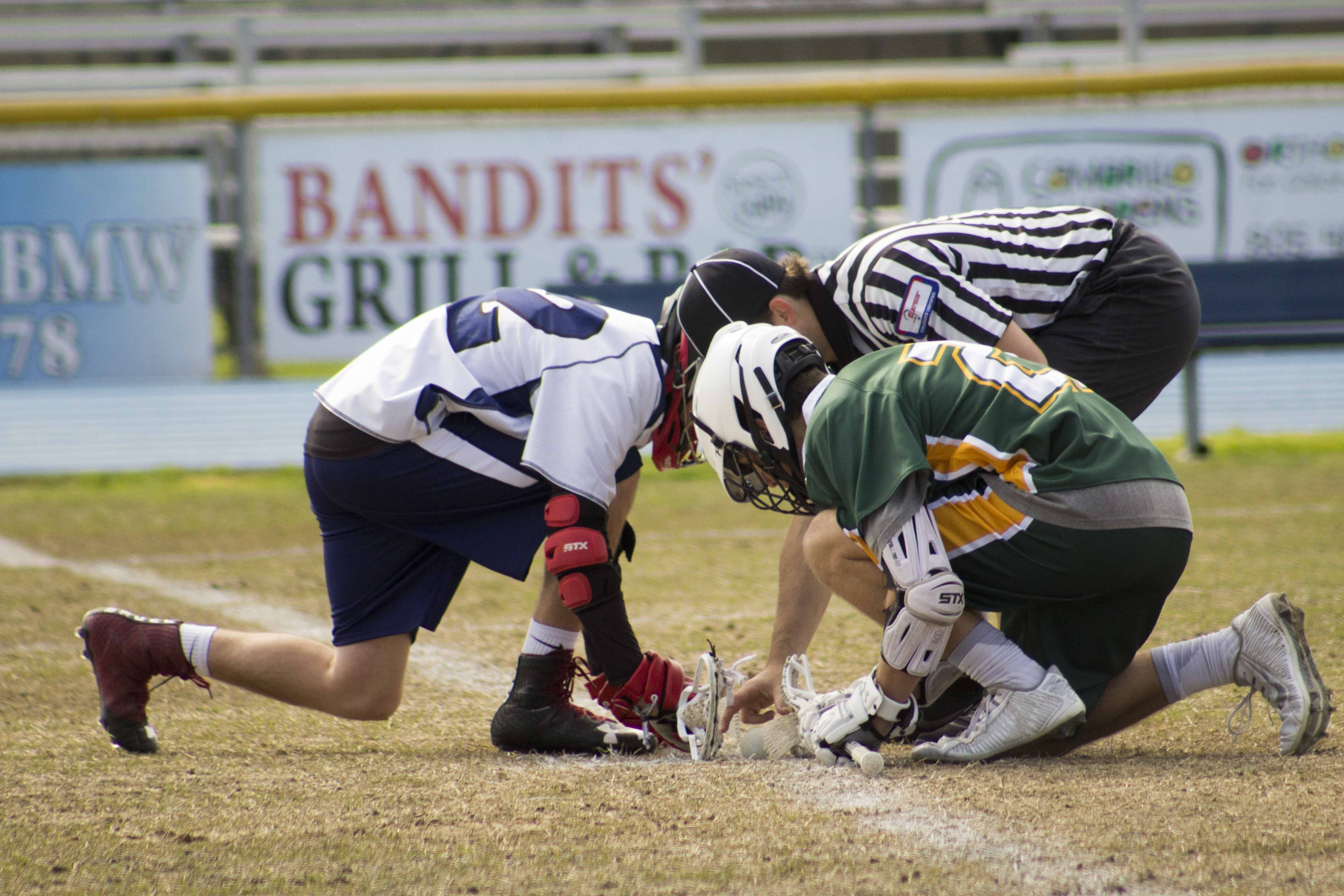 Jordan Dagnesses faces off with a Pasadena Tribe player.