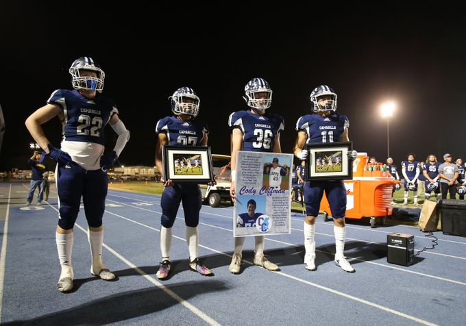 Cam+High+honored+Cody+Coffman%2C+a+2015+graduate+of+Cam+High%2C+and+victims+of+the+Thousand+Oaks+mass+shooting+during+the+CIF+Football+game+on+Friday+night.+