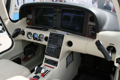 The Cirrus Perspective - by Garmin - suite on this specced-up SR-22 G3 demonstrator. The aircraft was also equipped with the TKS deicing system and ballistic recovery chute