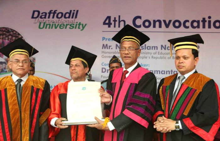 Dr. A Samanta, Founder, KIIT & KISS receiving the Honorary Doctorate of Letters (D.Litt) at Daffodil International University