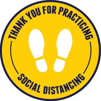 Footprint Social Distancing Floor Decals - Yellow