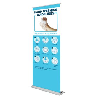 Blade Lite Banner Stand with Covid-19 Safety Graphics