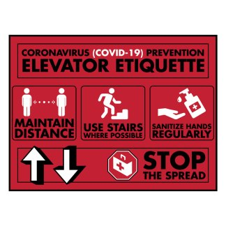 Elevator Etiquette Covid-19 Safety Signs - Red
