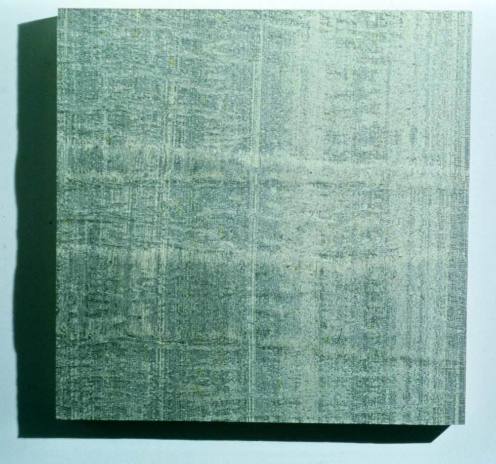 "city, medium: The Calgary White Pages on birch (1996) 24"" x 24"" x 2.5"""