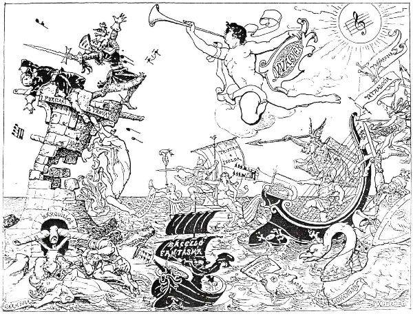 Caricatura de la obra de Richard Wagner