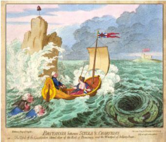 Britannia between Scylla & Charybdis