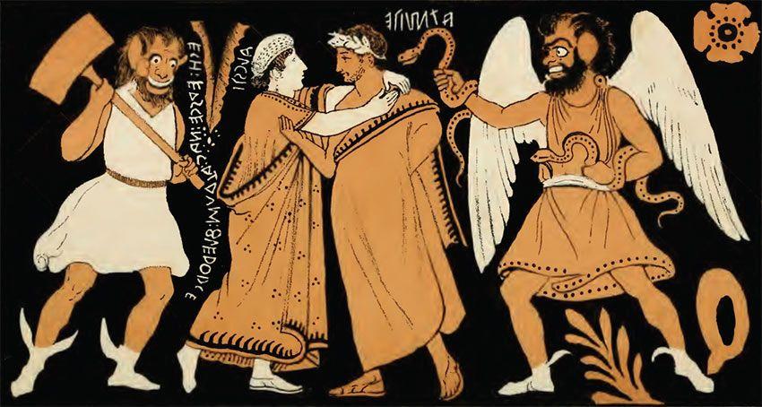 Detalle de un vaso etrusco que muestra el destino de Admeto y Alcestis, copiado del original por George Dennis