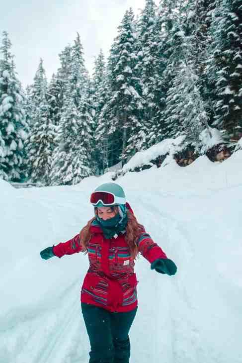 Enjoying a fresh snowfall while snowmobiling
