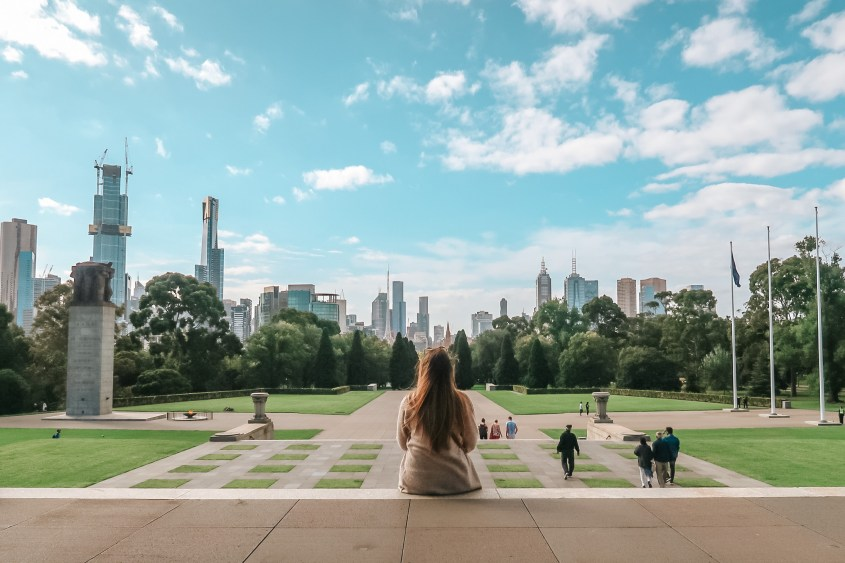 The Shrine of Remembrance is the perfect place to go for the ultimate skyline of Melbourne