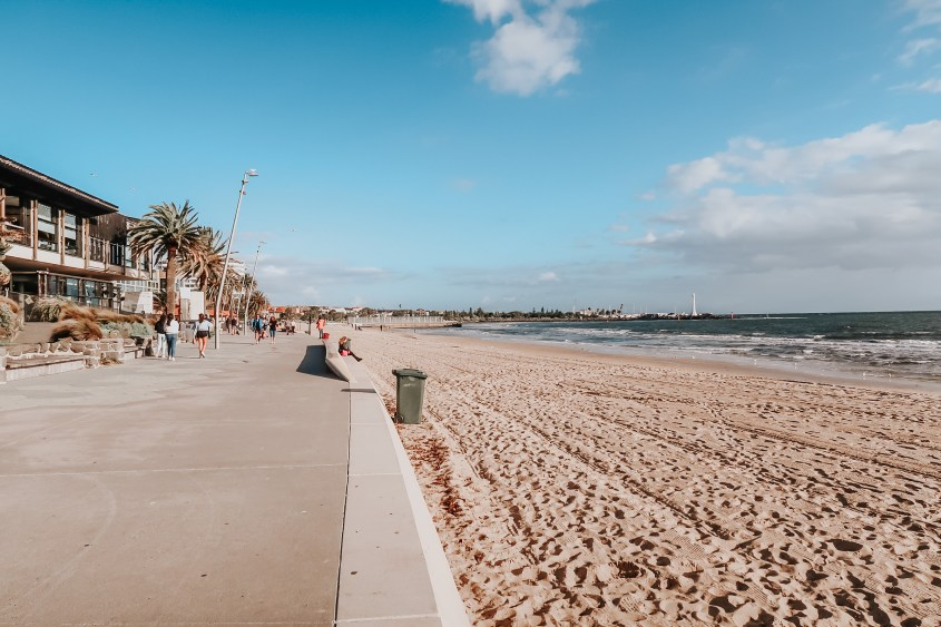 Take a day trip from Melbourne to St. Kilda to unwind at the beach