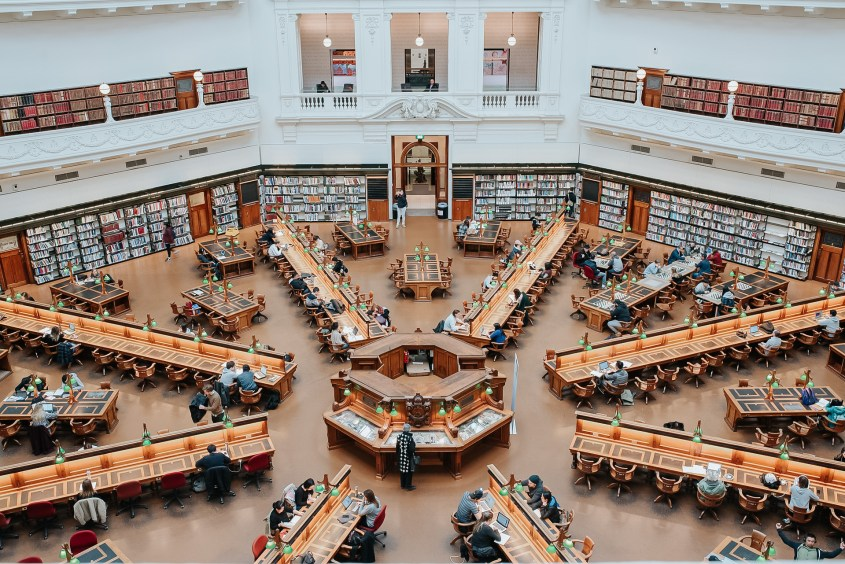 The La Trobe reading room is the famous famous room in the State Library of Victoria and a perfect rainy day activity in Melbourne