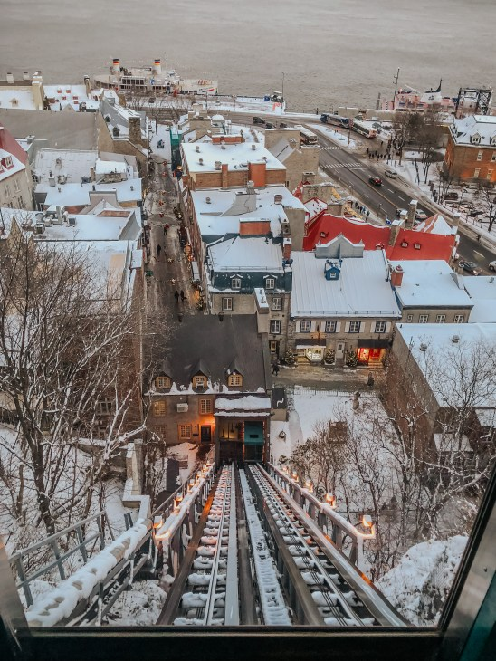 The view of the lower city from the funicular
