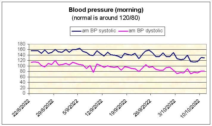 Morning blood pressure chart