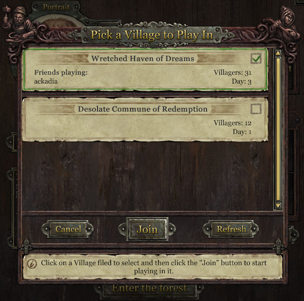 Grimmwood - choosing your village