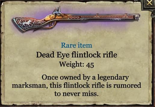 Grimmwood Dead-eye flintlock rifle