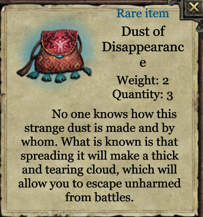 Grimmwood rare object - Dust of Disappearance