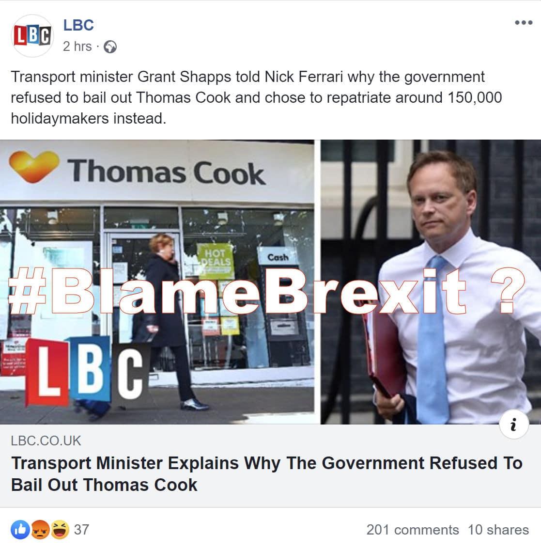 LBC Thomas Cook go bust