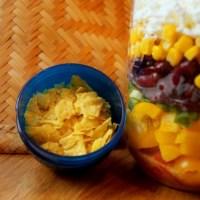 Mason Jar Salate -Gemüse Salat mit Tacos & Honig-Gewürz Vinaigrette