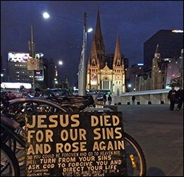 gospel-message-outside-melbourne-cathedral-19-mar-2016- photo C Mackellar