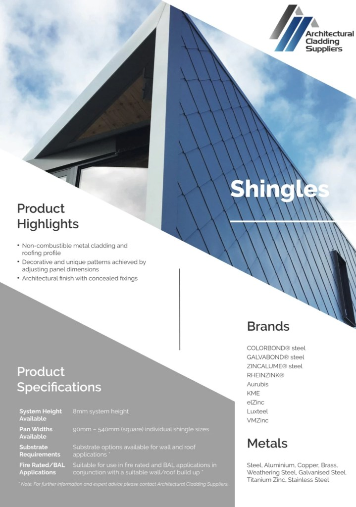 ACS Data Sheet   Shingles V3 pdf  page 1 of 2  - Shingle and Flatlock Metal Cladding