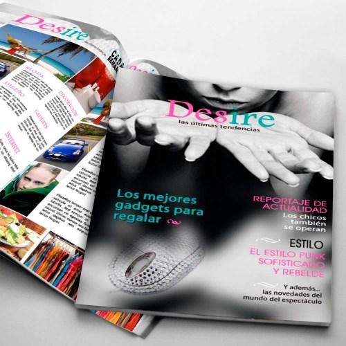 Maquetación de la revista de tendencias y actualidad Desire