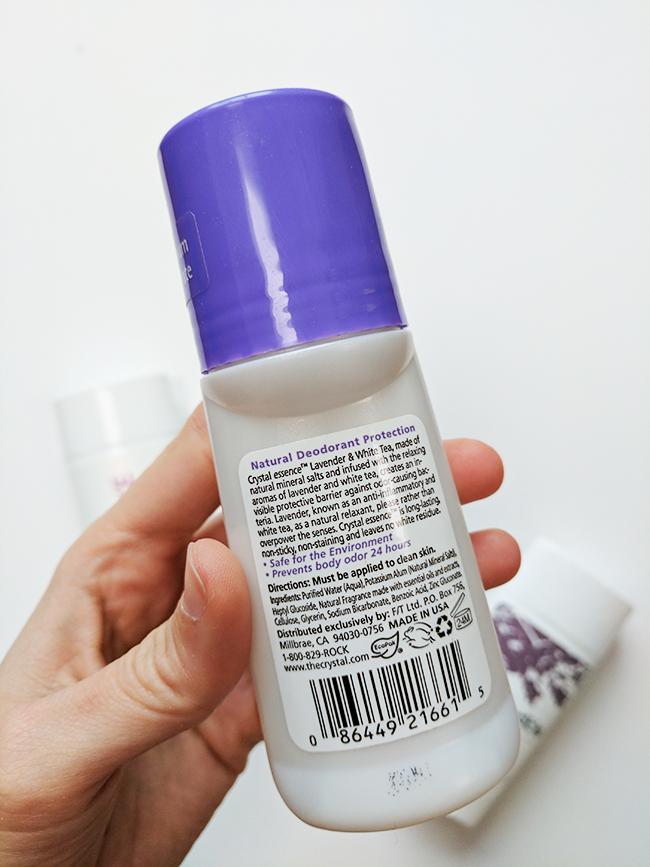 Aluminum free natural deodorant test - Crystal Essence ingredients